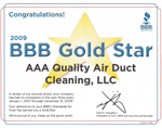 AAA Quality Air Duct and Carpet Cleaning is an BBB Gold Star Recipient