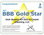 AAA Quality Air Duct and Carpet Cleaning is an BBB is Gold Star Recipient