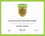 AAA Quality Air Duct & Carpet Cleaning Supervisors License