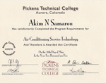 Pickens Technical College Certificate